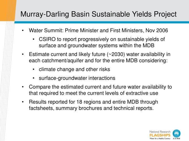 Murray-Darling Basin Sustainable Yields Project