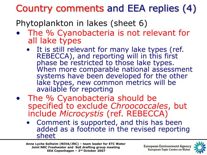 Country comments