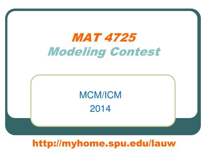 mat 4725 modeling contest