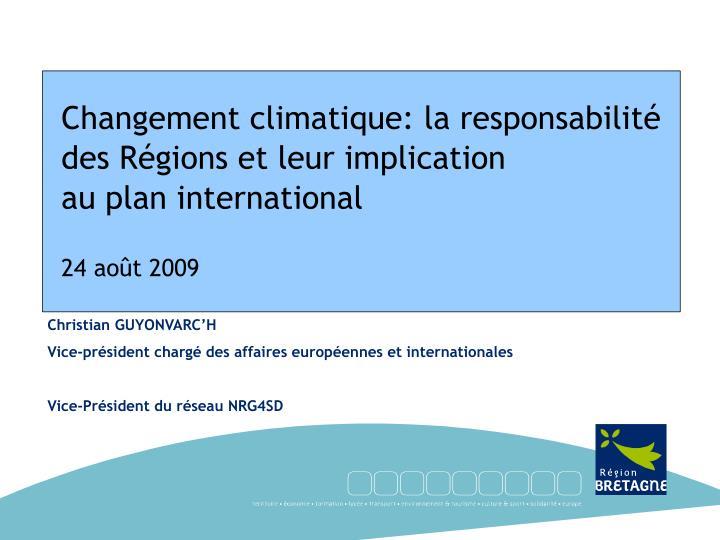 Changement climatique: la responsabilité