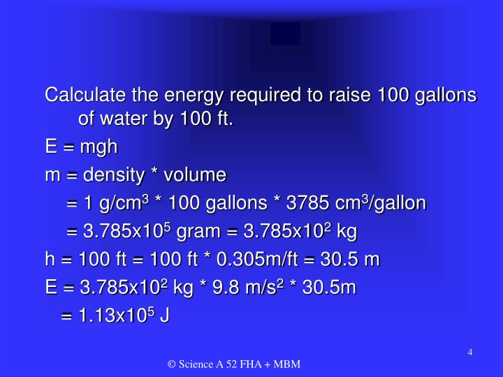 Calculate the energy required to raise 100 gallons of water by 100 ft.