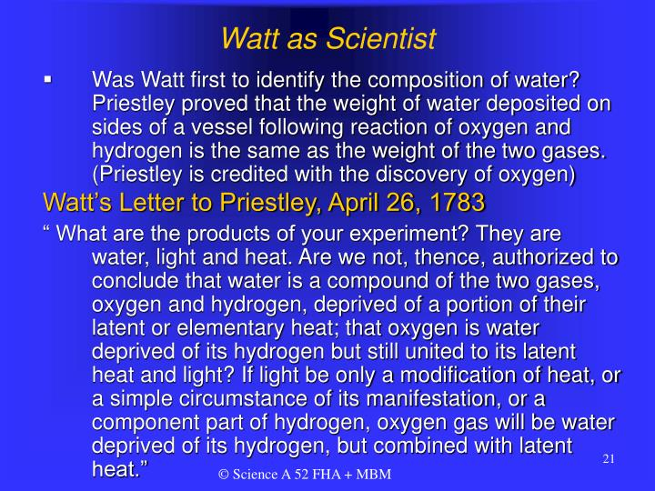 Watt as Scientist