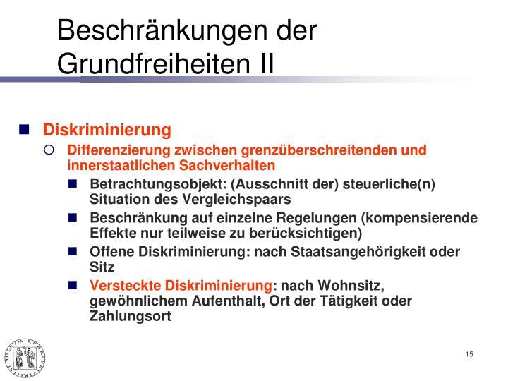 Beschränkungen der Grundfreiheiten II