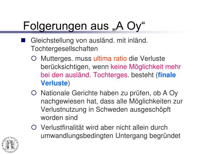 """Folgerungen aus """"A Oy"""""""