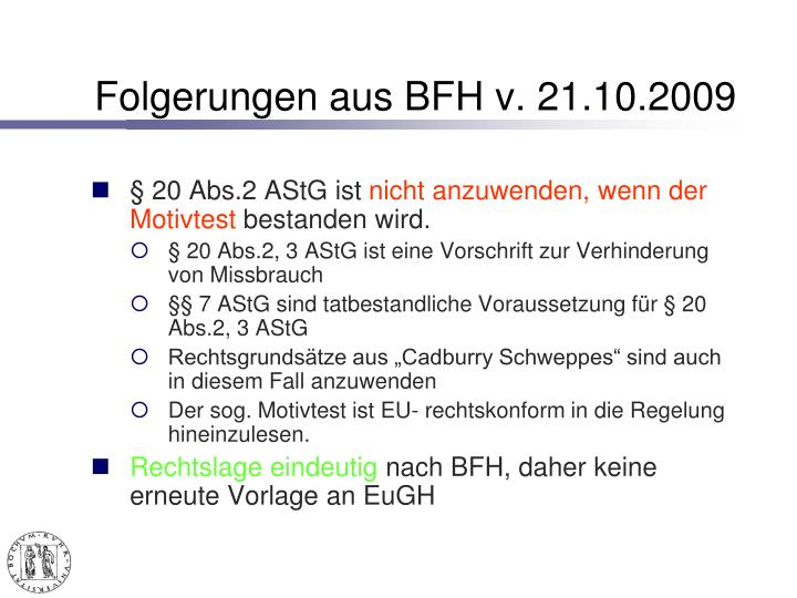 Folgerungen aus BFH v. 21.10.2009