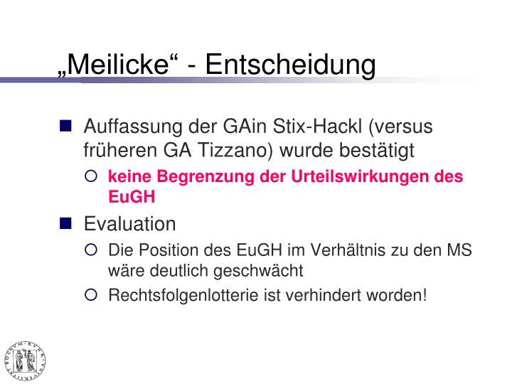 """""""Meilicke"""" - Entscheidung"""