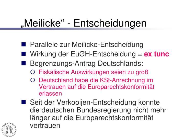 """""""Meilicke"""" - Entscheidungen"""