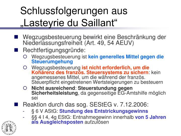 """Schlussfolgerungen aus """"Lasteyrie du Saillant"""""""