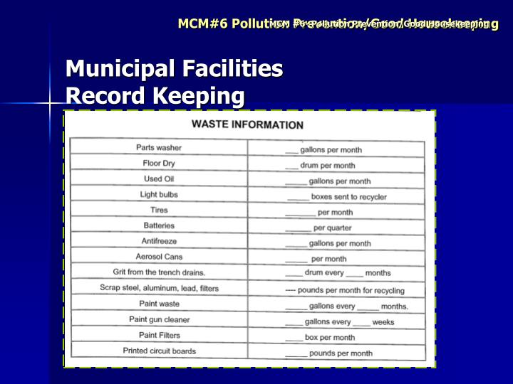 MCM #6- Pollution Prevention/Good Housekeeping