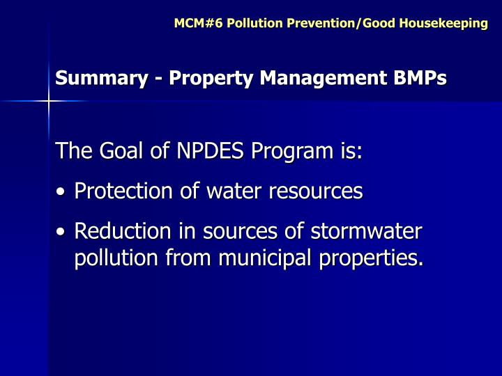 Summary - Property Management BMPs