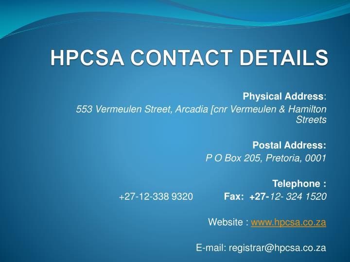 HPCSA CONTACT DETAILS
