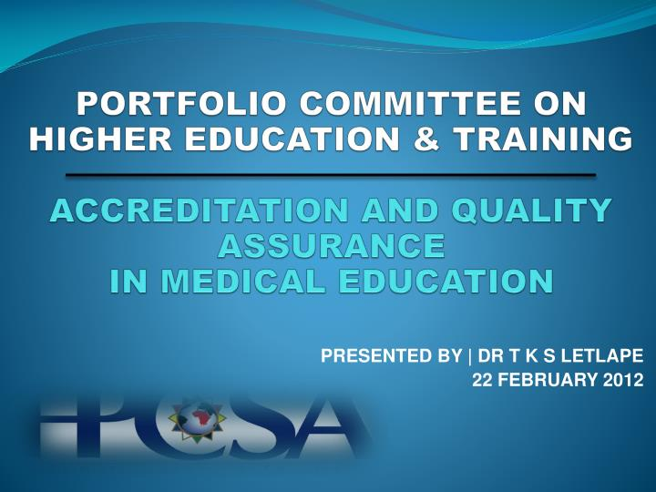 PORTFOLIO COMMITTEE ON HIGHER EDUCATION & TRAINING