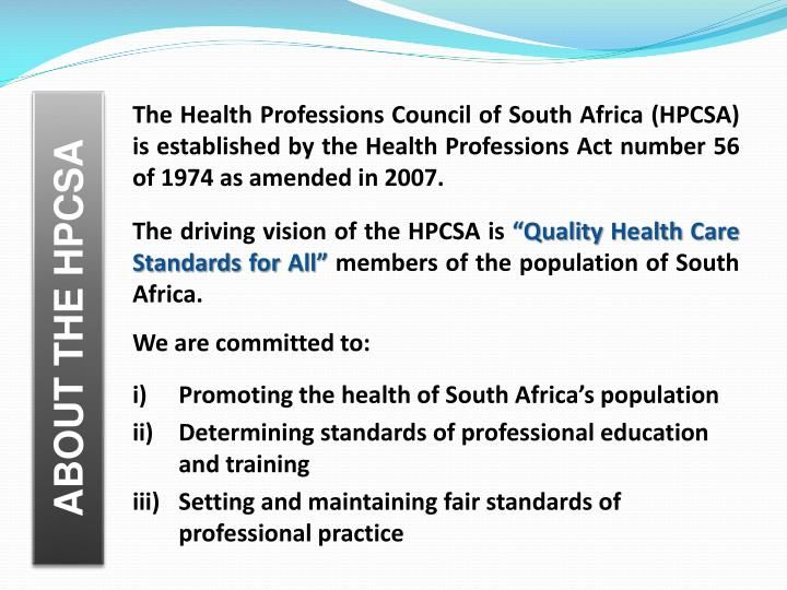 ABOUT THE HPCSA