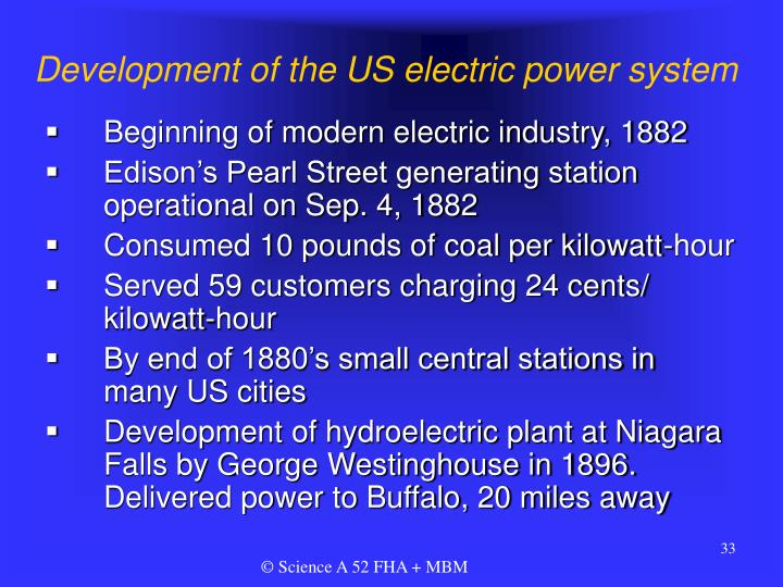 Development of the US electric power system