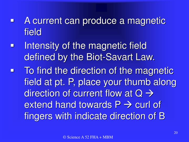 A current can produce a magnetic field