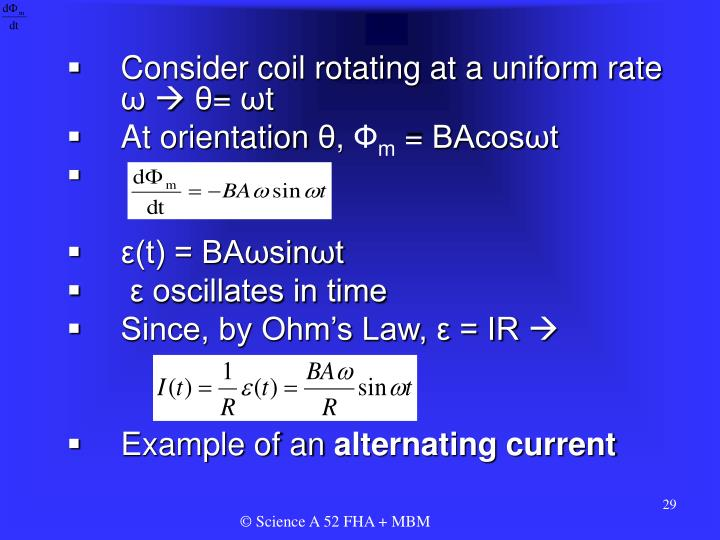 Consider coil rotating at a uniform rate