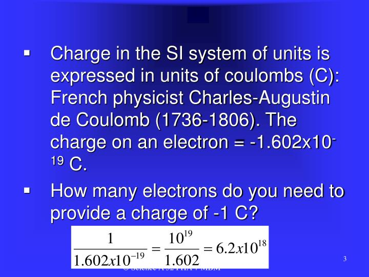 Charge in the SI system of units is expressed in units of coulombs (C): French physicist Charles-Aug...