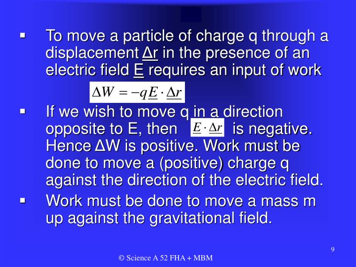 To move a particle of charge q through a displacement