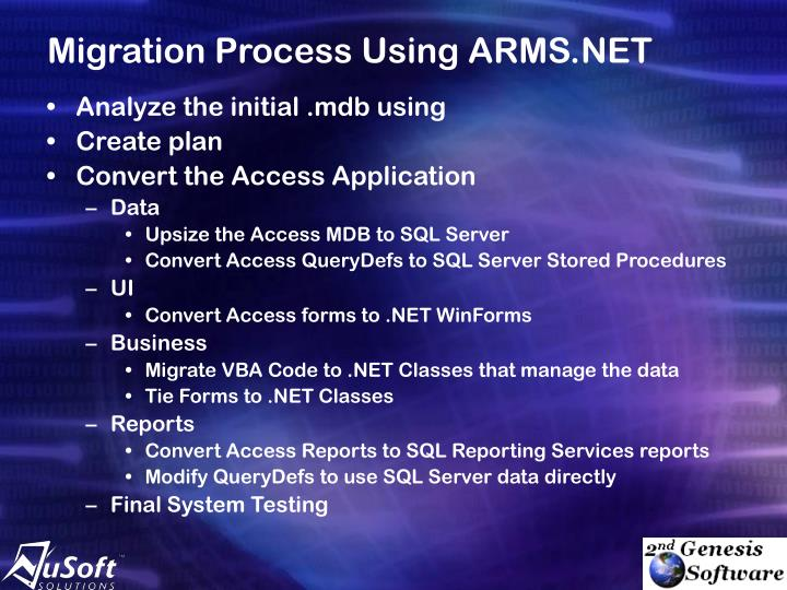Migration Process Using ARMS.NET