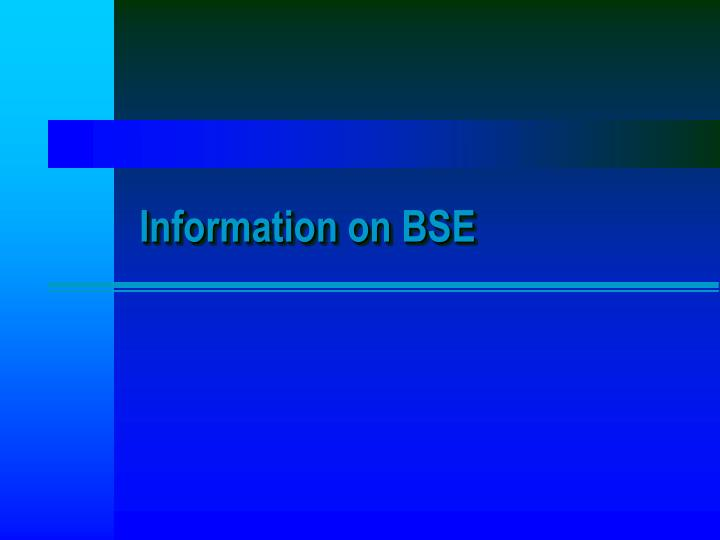 Information on BSE