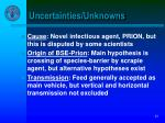 uncertainties unknowns
