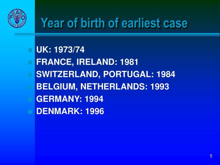 Year of birth of earliest case