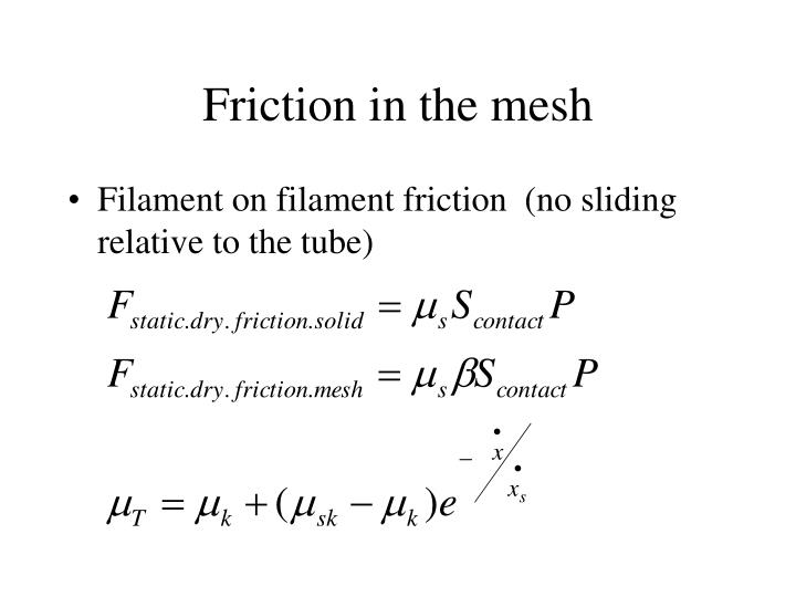 Friction in the mesh