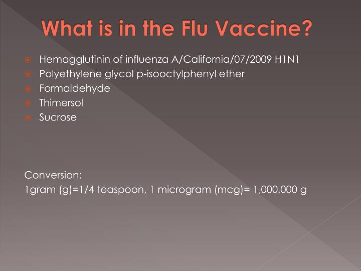 What is in the Flu Vaccine?