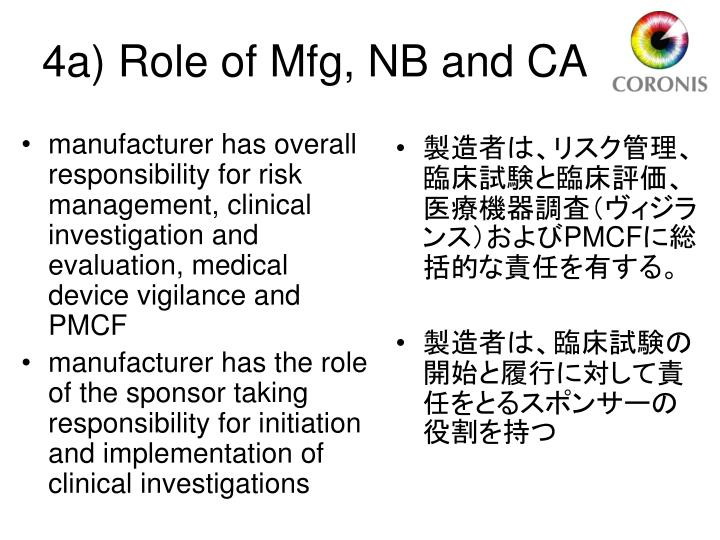 manufacturer has overall responsibility for risk management, clinical investigation and evaluation, medical device vigilance and PMCF