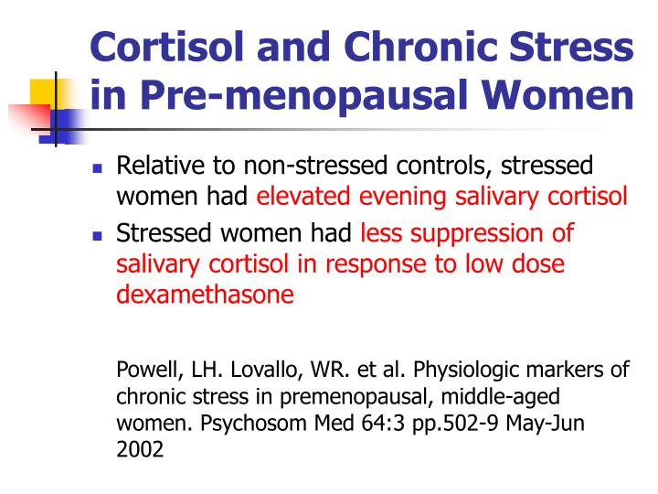 Cortisol and Chronic Stress in Pre-menopausal Women
