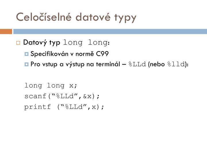 Celočíselné datové typy