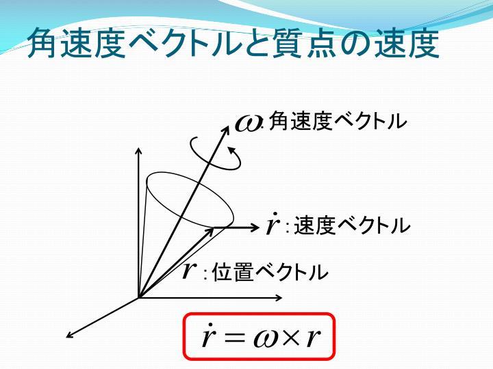 角速度ベクトルと質点の速度