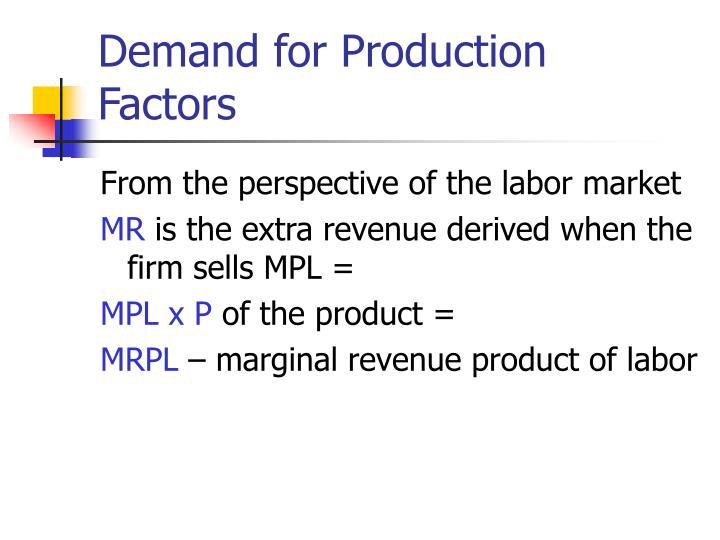 Demand for Production Factors