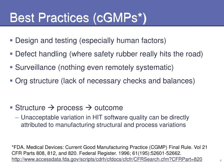 Best Practices (cGMPs*)
