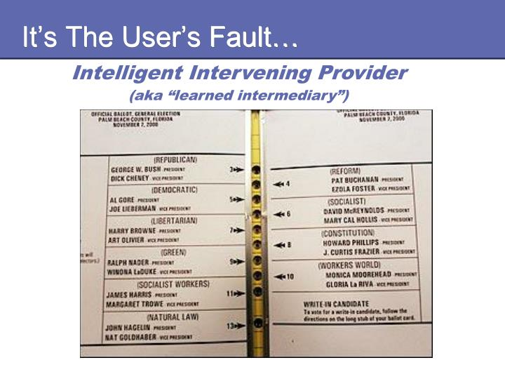 It's The User's Fault…