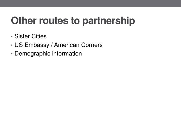 Other routes to partnership