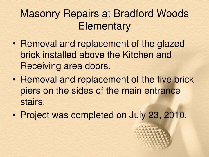 Masonry Repairs at Bradford Woods Elementary