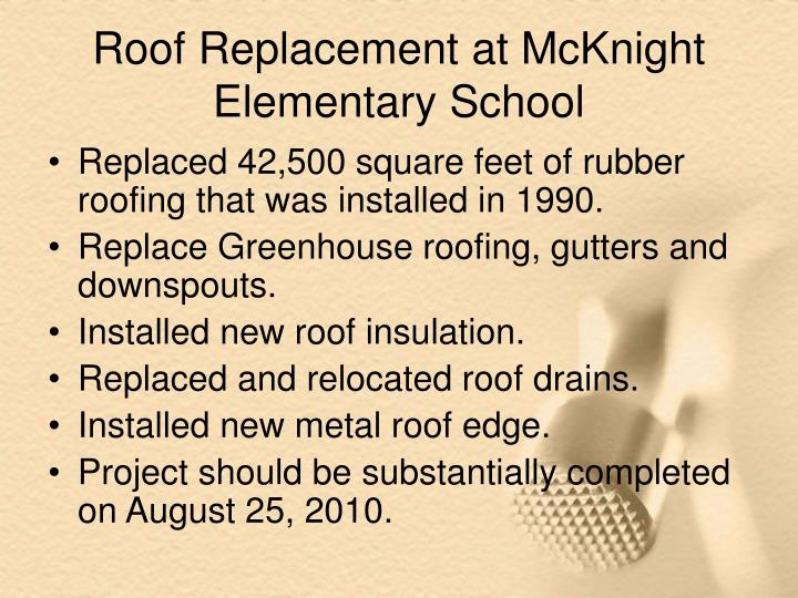 Roof Replacement at McKnight Elementary School