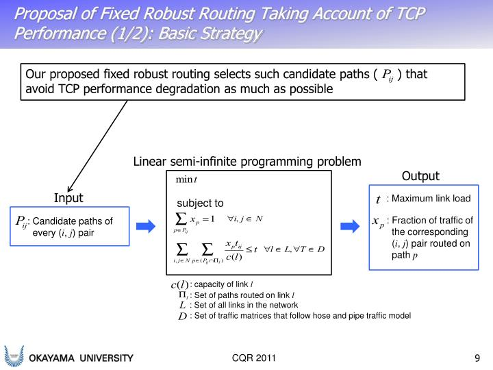 Proposal of Fixed Robust Routing Taking Account of TCP Performance (1/2): Basic Strategy