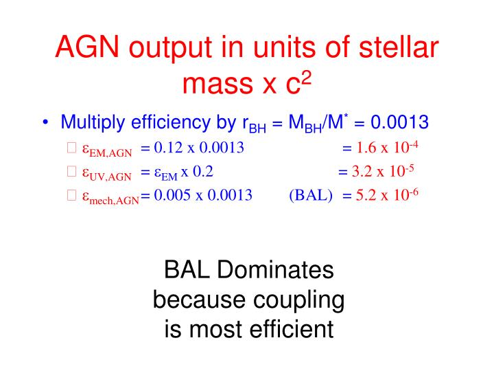 AGN output in units of stellar mass x c