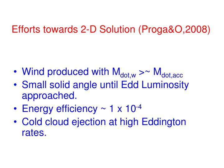 Efforts towards 2-D Solution (Proga&O,2008)