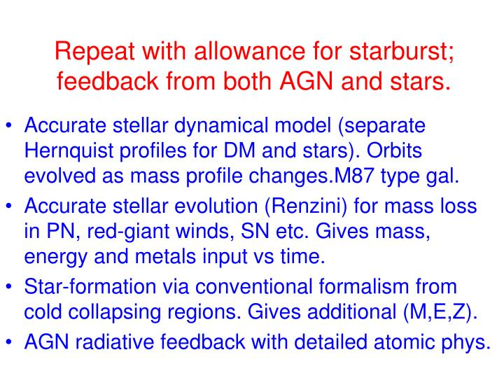 Repeat with allowance for starburst; feedback from both AGN and stars.