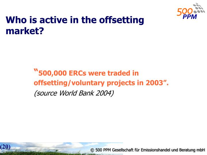 Who is active in the offsetting market?