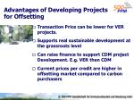 advantages of developing projects for offsetting