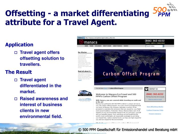 Offsetting - a market differentiating attribute for a Travel Agent.