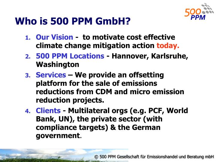 Who is 500 PPM GmbH?