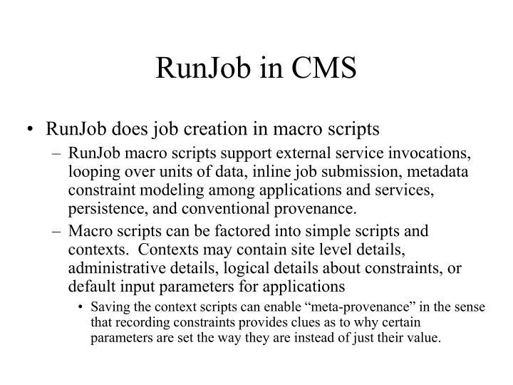 RunJob in CMS