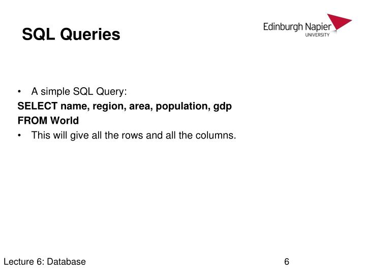 Lecture 6: Database