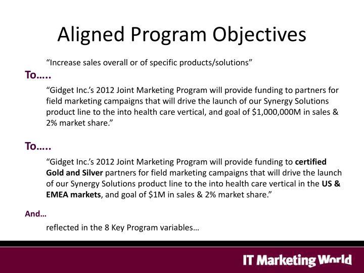 Aligned Program Objectives
