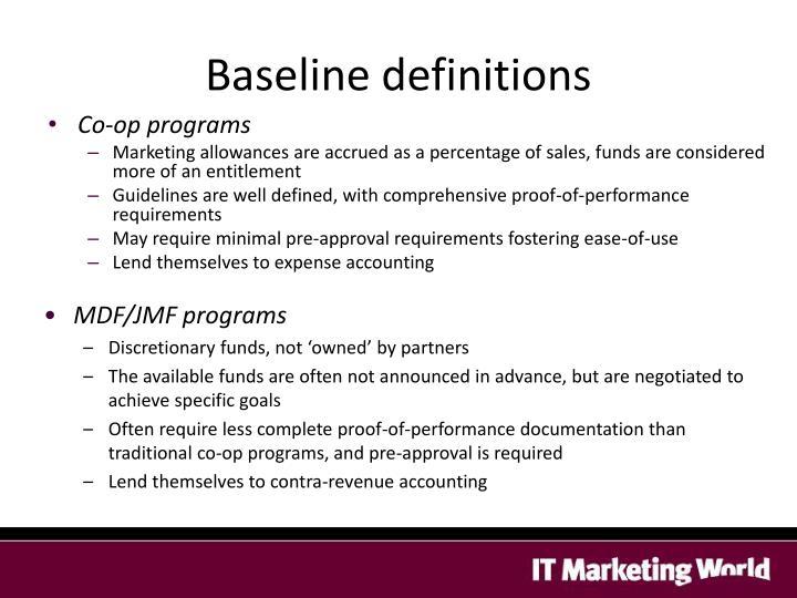 Baseline definitions